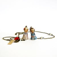 Marie Antoinette doll necklace lariat long layered chain necklace polymer clay dolls decoupage one of a kind