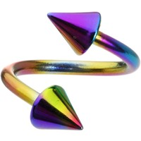 Rainbow Anodized Titanium Spiral Twister Cone Belly Ring