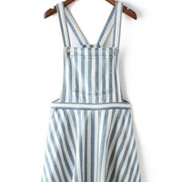 White Blue Striped Overall Mini Denim Dress