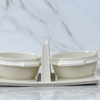 Vintage 1970s Tupperware Starburst Pattern Picnic Bowls And Spoons