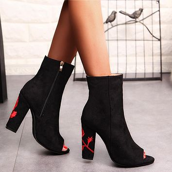 Embroidery Flower Zip Rough Heel Fish Mouth Short Boots Heels Shoes
