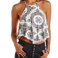 White Combo Pom-Pom Trim Bandanna Print Crop Top by Charlotte Russe