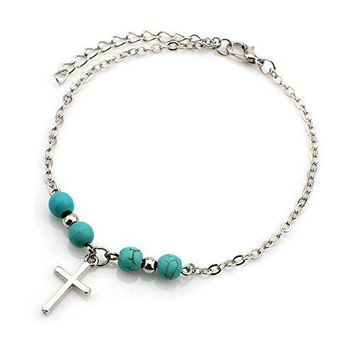 AUGUAU Zealmer Cross Anklet Single Chain Friendship Anchor Anklet Simple Sea Turtle Starfish Ankle Bracelet