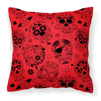 Day of the Dead Orange Fabric Decorative Pillow BB5119PW1414