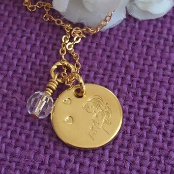 Expecting Mom - Mommy to be - Pregnancy - Baby Shower gift - Hand stamped - Gold - Disc Necklace - Custom