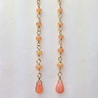 Peach Long Dangle Earrings, Peach Opal Earrings, 14kt Gold Fill, Long Chain Dangle Earrings, Peach Ethiopian Opal