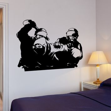 Wall Decal Crime Police Outlaw Bandit Mask Lawless Mural Vinyl Decal Unique Gift (ed371)