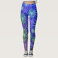 Silver spinning stars on purple color background 2 leggings