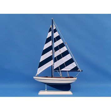 Wooden Blue Striped Pacific Sailer Model Sailboat Decoration 25""