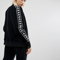 Kappa Zip Front Tracksuit Top With Sports Tape In Velour Co-Ord at asos.com