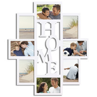 "Decorative White Wood ""Home"" Wall Hanging Picture Photo Frame Collage"