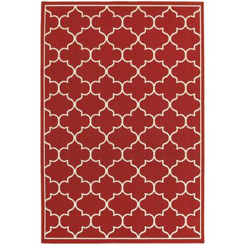 Meridian Red Ivory Lattice  Outdoor Rug