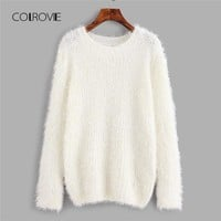 COLROVIE Workwear Fuzzy Chunky Knit Women White Sweater 2018 Autumn Solid Casual Loose Sweater Cotton Pullovers Jumper