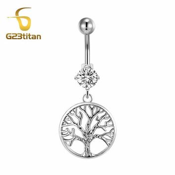 Tree of Life Naval Belly Button Titanium Ring