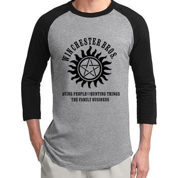 Supernatural Winchester Bros 3/4 sleeve t shirts men 2017 summer 100% cotton raglan men t-shirt o-neck top tees for movie fans
