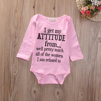 I Get My Attitude From Funny Infant Baby Onesuit Bodysuit