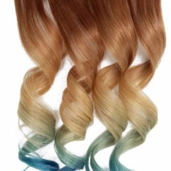 Warm Chestnut Brown Peacock Clipin Human Hair Extensions blonde blue teal purple