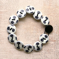 Soccer Wooden Button Bracelet