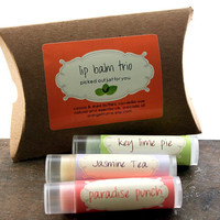 Lip Balm gift trio  Pick Three by orangethyme on Etsy