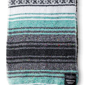 Mexican Blanket Authentic Falsa Thick Soft: Woven Acrylic Serape for Yoga or as Beach Throw, Picnic, Camping, Travel, Hiking, Adventure, Pillow PINK and MINT Blankets