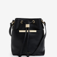 Crosshatch leather mini bucket bag - Black | Bags | Ted Baker UK