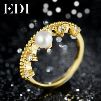 EDI Classic CROWN 5mm Natural Freshwater Pearls Soild 14k 585 Yellow Gold Wedding Engagement Rings For Women Jewelry