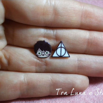 Earrings Harry Potter and the Deathly Hallows - kawaii, cute