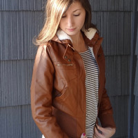Cognac Hooded Faux Leather Jacket