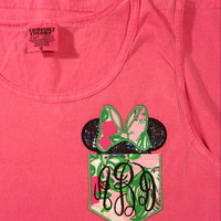 Pink Comfort Color Tank Lilly Pulitzer  fabric pocket/bow Mr. or Mrs. Mouse Disney trip visit matching family shirts boyfriend fit