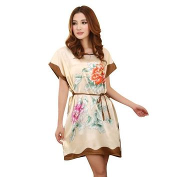 LMFET7 Women's Chinese Style Short Sleeve Silk Dress Loose Nightgown Bathrobe