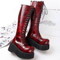 Demonia Style Women Boot Black Patent Leather Knee Length High Heel Boots Wedges Platform Punk Gothic Shoes Lace Up Martin Boots