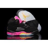 Air Jordan 5 Retro Aj5 Black Pink Women Basketball Shoes - Beauty Ticks