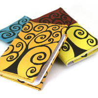 Golden Yellow Tree - Leather Notebook (refillable)- christmasinjuly