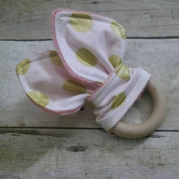 Gold coral minky bunny ear teether - organic wooden ring 2.5'' - baby girl fabric teether
