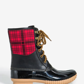 Muriel Duck Boot - Black & Red Plaid