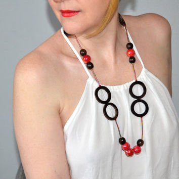 Red Necklace - Long Red Necklace