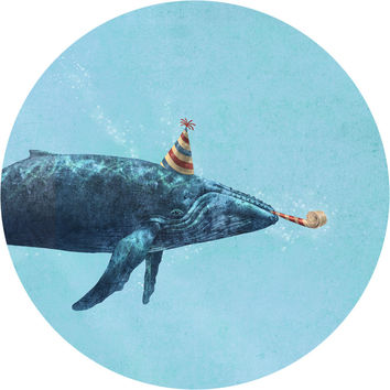 Party Whale Circle Wall Decal