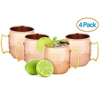Moscow Mule Hammered Pure Copper Mugs / Cup, 100% Pure Copper with Brass Handle, 16 Ounce, Set of 2, Copper Cups for Moscow Mules (Set of 4)