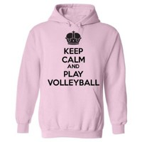 Mashed Clothing Keep Calm And Play Volleyball Adult Hooded Sweatshirt (Red, 2XL)