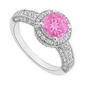 Pink Sapphire and Diamond Halo Engagement Ring : 14K White Gold - 1.55 CT TGW