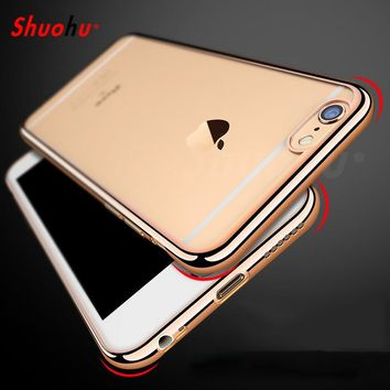 Shuohu Luxury Phone Cases for Iphone 7 6 6S Plus Case Silicone Transparent Coque for Iphone 5 5S SE Case Tpu Royal Soft Cover