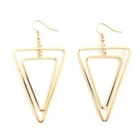 LAYERED TRIANGLE DANGLE EARRINGS