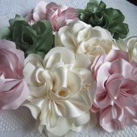 Extra large couture 5 inch satin fabric roses for hair -brooch- bouquets - gifts- weddings- brides hand made fabric flowers