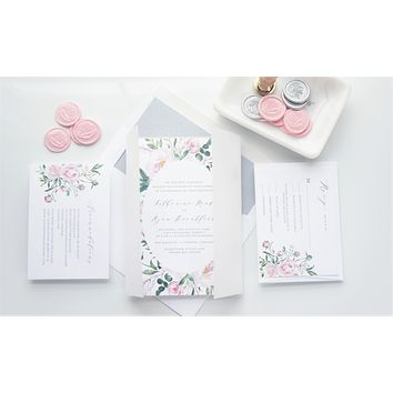 Pink Floral Vellum and Wax Seal Wedding Invitation - SAMPLE SET