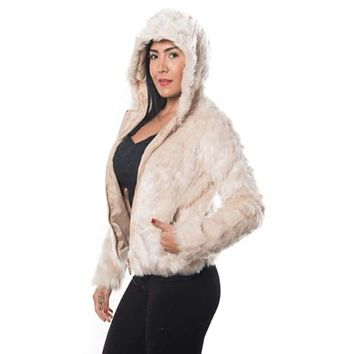 Women's Faux Fur Zip Up Hooded Jacket