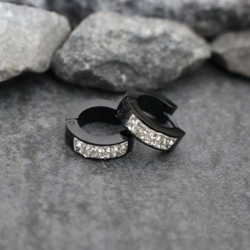 Black Earrings for Men, Small Silver Hoop Earrings, Titanium Earrings, Mens Jewelry, Hoop Earrings for Men, Guys Earrings, Stainless Steel