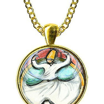 "Rumi Sufi Whirling Dervish 1"" Circle Gold Pendant"