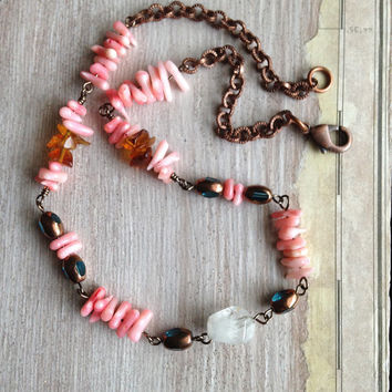 Pink Hawaiian Coral Necklace Fancy Bail with Copper Chain and Quartz Crystal Beads and Aqua Oval & Copper Beads