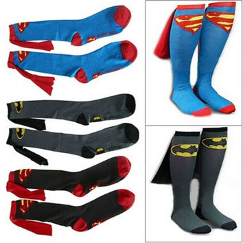 Unisex Super Hero Superman Batman Knee High With Cape Soccer Cosplay Socks New [8833397516]