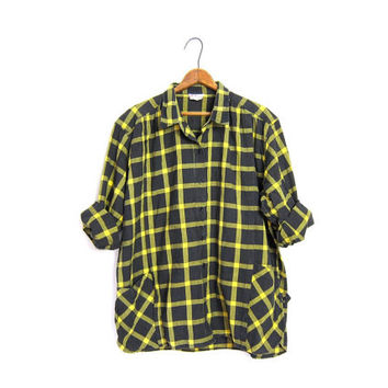 Oversized Checkered Button Up Shirt Retro Black Yellow Striped Long Sleeve Blouse Slouchy Boho Minimal Tee Shirt Cotton Pockets Loose Fit